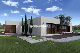 Contemporary villa under construction on a golf...